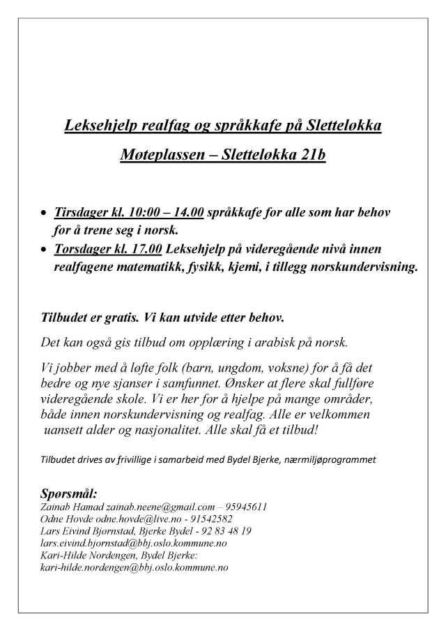 Leksehjelp realfag og språkkafe på Sletteløkka